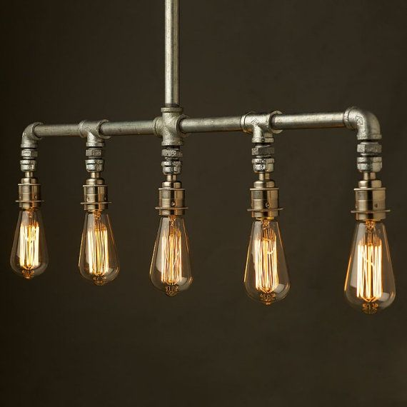 industrial pipe 5 lamp chandelier von illuminology auf etsy lampen