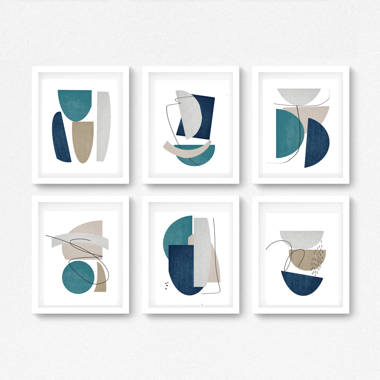 Abstract Geometric Wall Art,Downloadable Royal Blue Prints,Minimalist Watercolor Set of 2,Minimal Boho Wall Decor,Mid Century Modern Print