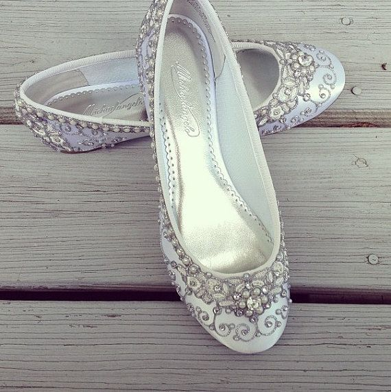 Cinderella S Slipper Bridal Ballet Flats Wedding Shoes Any Size Pick Your Own Shoe Color And Crystal Pinterest Flat