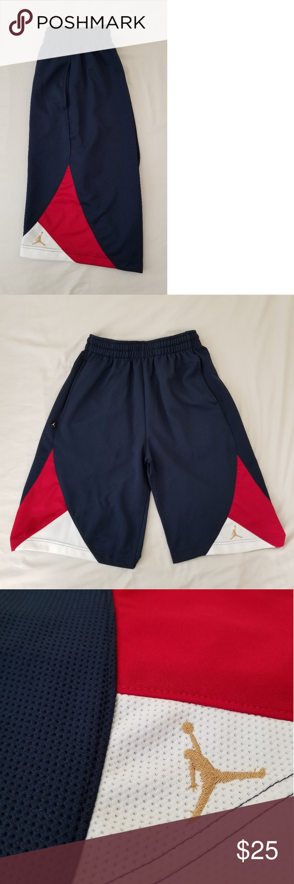 c2edb4dc2a190e Jordan Olympic bball shorts sz S Excellent condition. 9.5 10. Navy  blue red white   gold jumpman. Size is small but will fit medium. Has  pockets.
