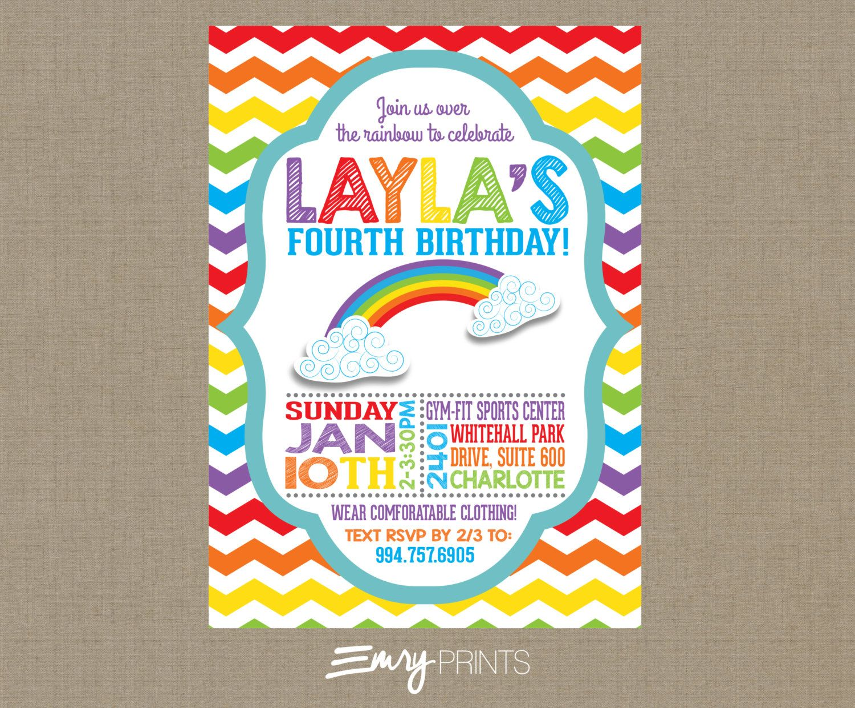 Rainbow Invitation / Rainbow Birthday Invitation / Colorful Birthday ...