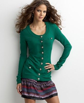 Kensie Cotton Blend Cardigan Sweater - Cardigans Sweaters ...