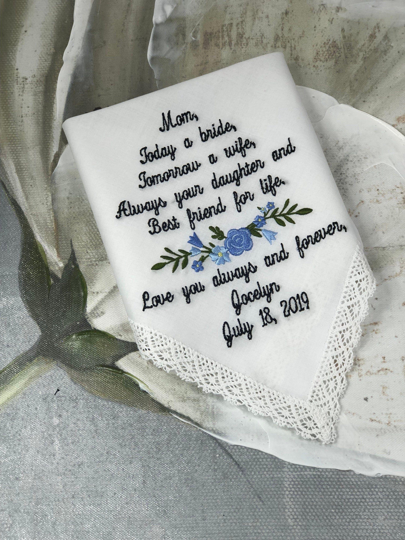 Weddings Wedding Gift For Mom Custom Wedding Handkerchief Etsy Personalized Handkerchief Wedding Mom Wedding Gift Custom Wedding Handkerchief