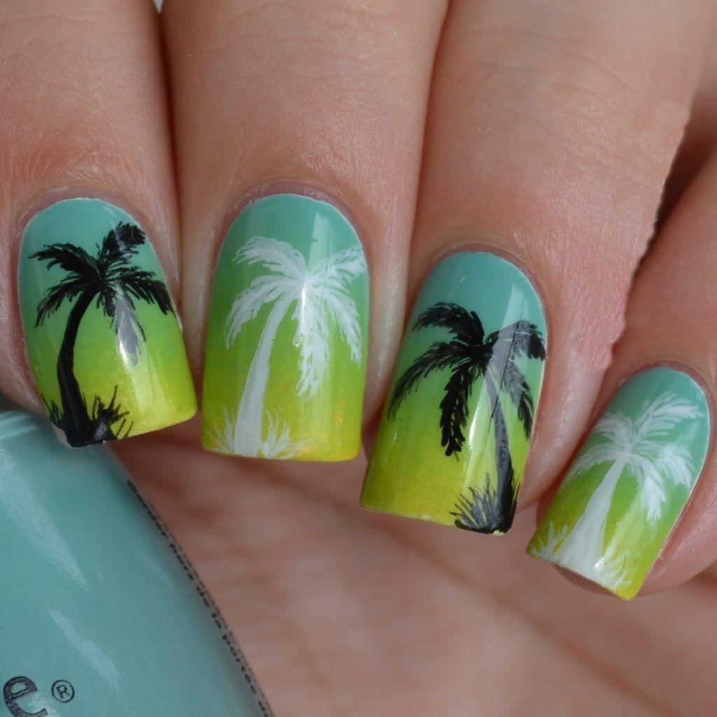 картинки яркого летнего маникюра в фиолетовых оттенках с пальмами основная часть всевозможных