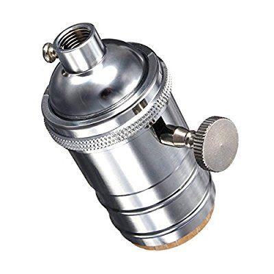 KINGSO E27 Lampenfassung Kupfer Vintage Retro Antike Edison Pendelleuchte Hängelampe Halter DIY Lampe Zubehör mit Schalter Chrom