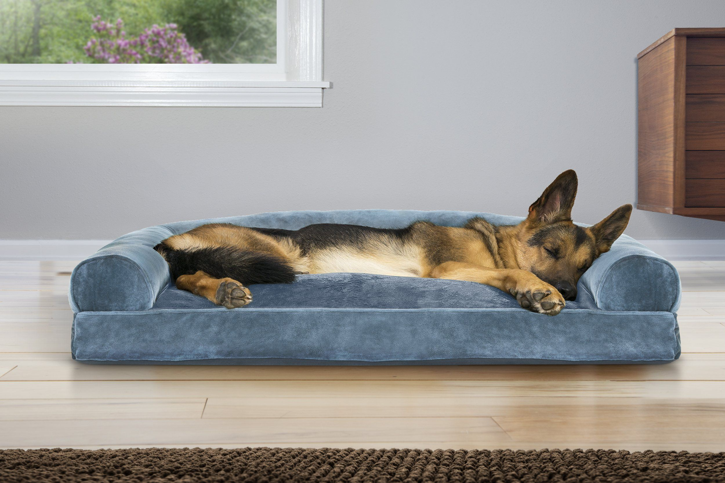 Furhaven Pet Faux Fur And Velvet Pillow Sofa Pet Bed Jumbo Harbor Blue More Info Could Be Found At The Image Url This Dog Pet Beds Dog Pillow Bed Dog Bed
