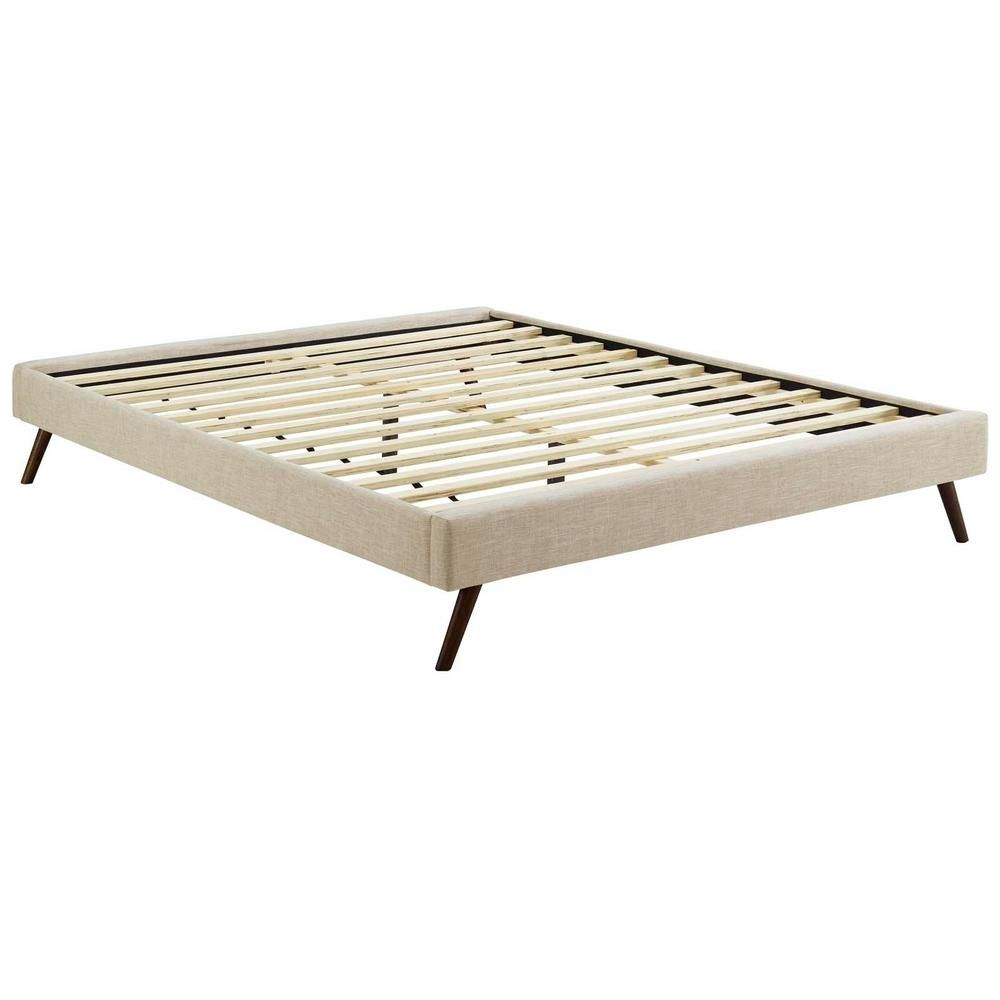 Modway Loryn Beige Queen Bed Frame With Round Splayed Legs King