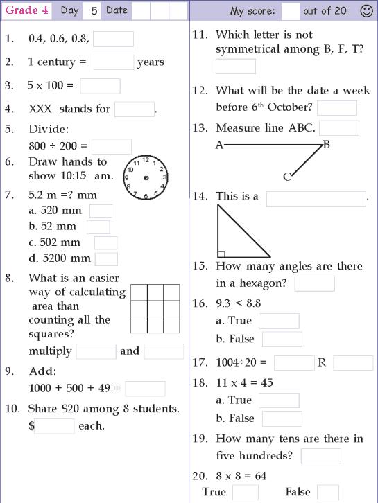 Mental Math Grade 4 Day 5 Mental Maths Worksheets, Free Math Worksheets, Mental  Math