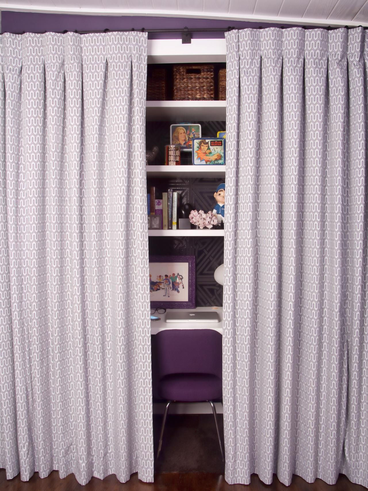 The Doors To This Small Closet Were Replaced With Lavender And White  Patterned Curtains, Which