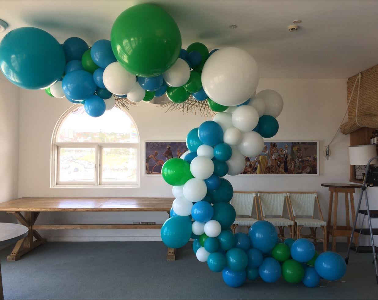 organic balloon garland with white, robins egg and spring