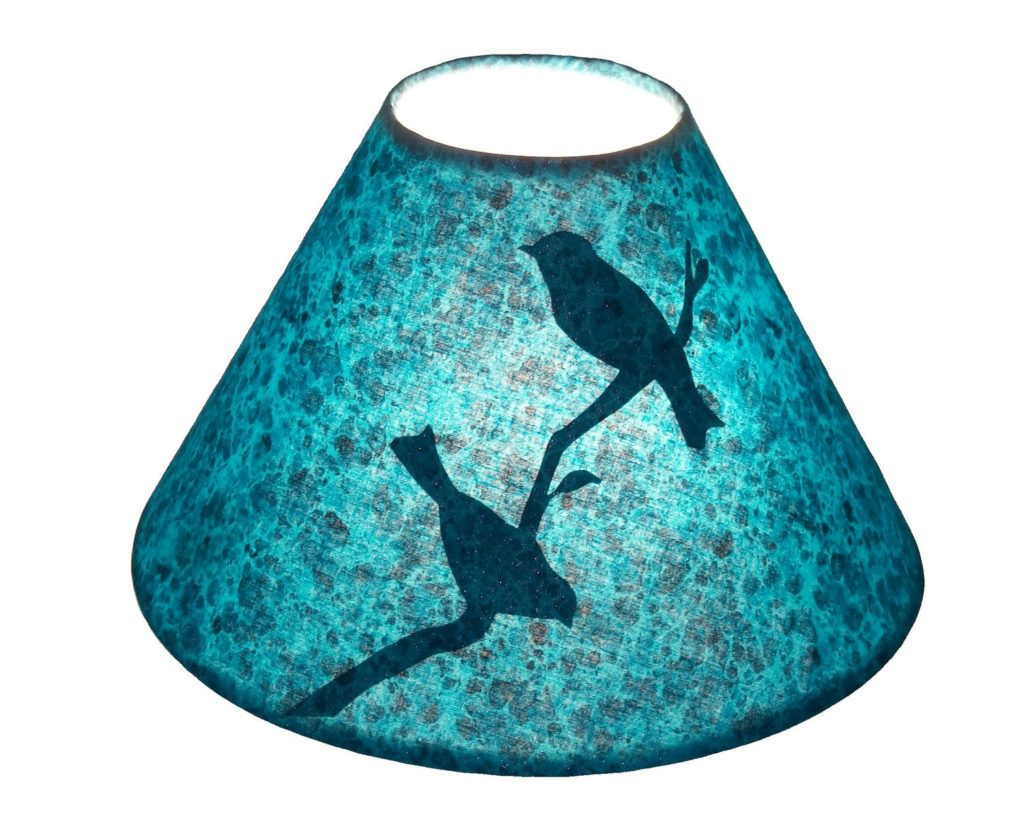 Brilliant Blue Lamp Shade With Two Birds On Branch Silhouette