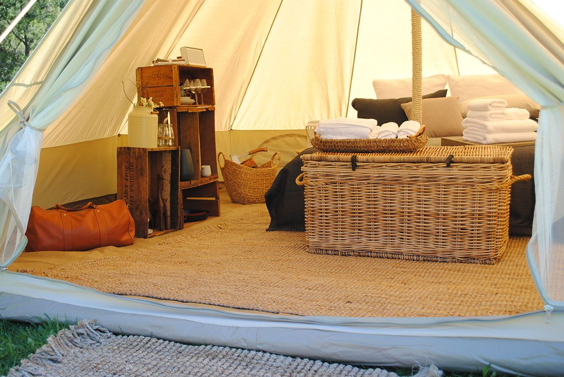 Inside our Bell Tents & bell tent bath room - Google Search | ROCKY RIVER CAMP | Pinterest ...