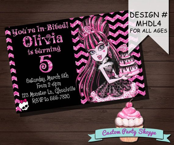 MONSTER HIGH DRACULAURA Birthday Invitation Monster High Party