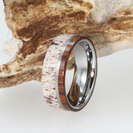 Deer Antler Wedding Band With Ironwood Titanium Ring Wooden