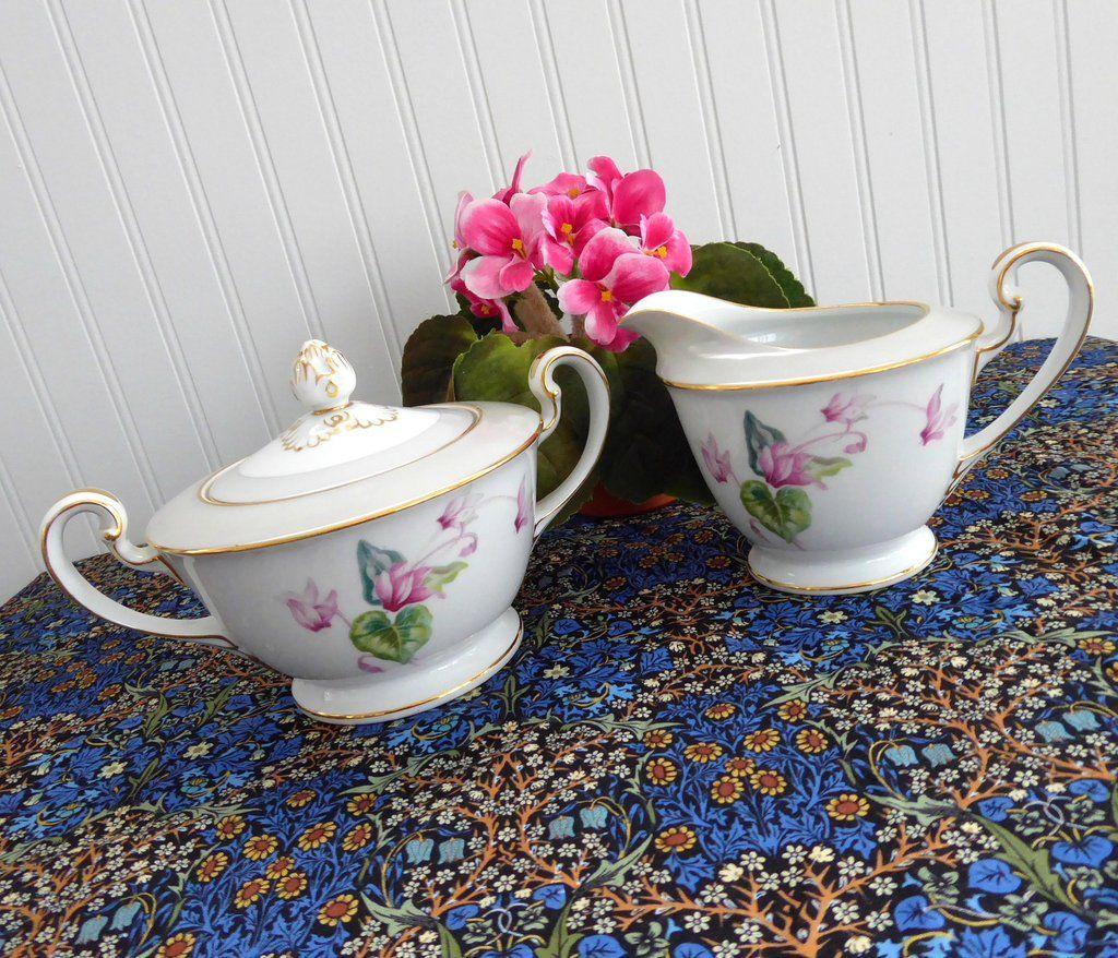 Noritake Cream And Sugar Cyclamen Lovely Vintage 1940s Pattern 5035