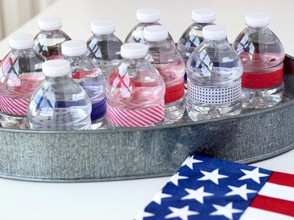 Water Bottle Decoration Ideas Patriotic Craft Water Bottle Party Favors  Washi Tape Washi And