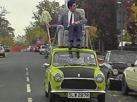 Official Mr Bean The Classic Clip Where Mr Bean Puts An Armchair He S Bought On Top Of His Mini To Take It Home He Can T Mr Bean Driving Humor Sketch