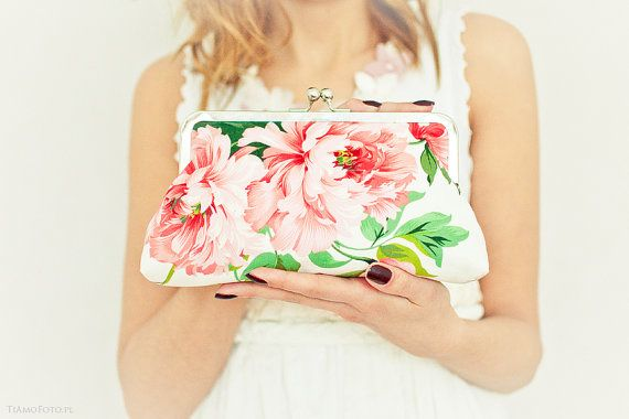 Wedding Purse Peony Floral Print Peach Green Leaves Lilac Pink Sage Bridesmaid Gift Made to order on Etsy, $59.99