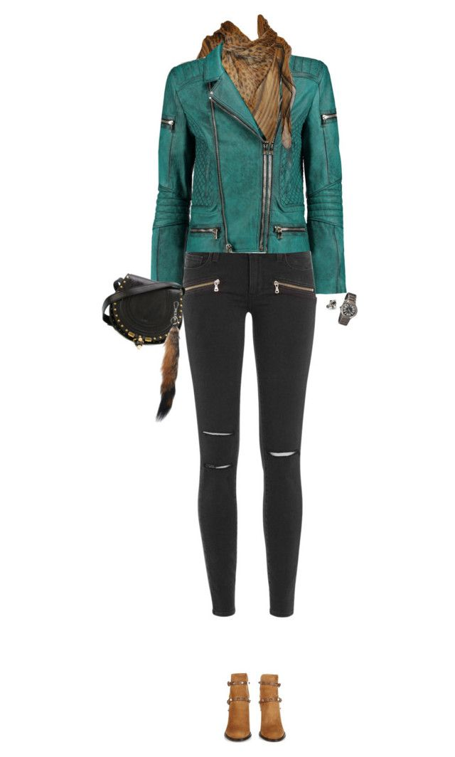 """""""How to Style a Green Leather Jacket"""" by outfitsfortravel ❤ liked on Polyvore featuring Paige Denim, Balmain, Roberto Cavalli, Valentino, Chloé, Marni and Bertha"""