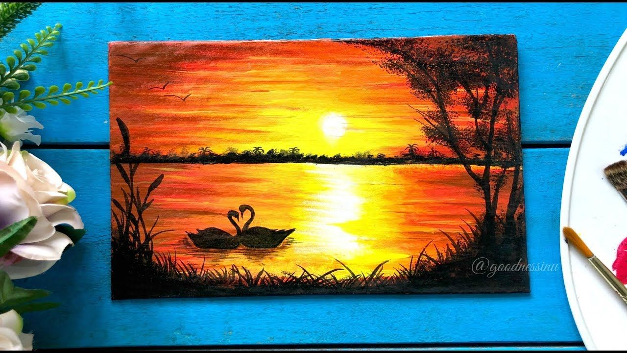 Easy Sunset Painting With Swans Step By Step Tutorial Youtube