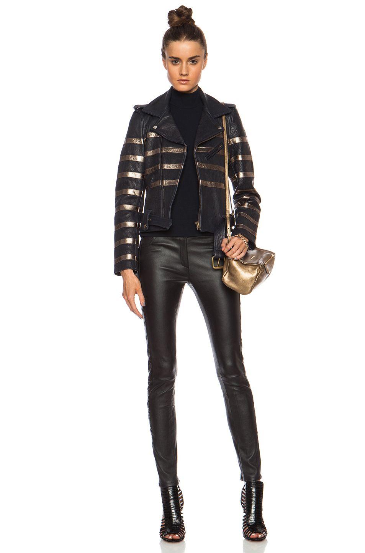 Each X Other Metallic Stripe Mariner Biker Leather Jacket In Navy Bronze Fwrd 6 Leather Jacket Leather Jackets