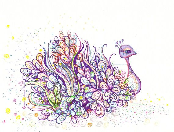 Purple Peacock Drawing  Original Art with Sharpies by Huneybunny, $40.00