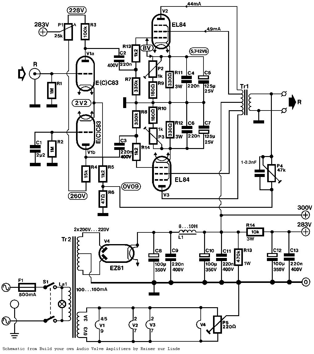 Push-Pull (PP) SR-84 Tubo de amplificador Schematic