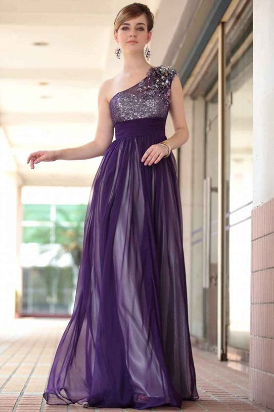 abd037d2712 Shop 2013 Prom Dresses Fast Delivery Purple A Line One Shoulder Chiffon  30653 Online affordable for each occasion.