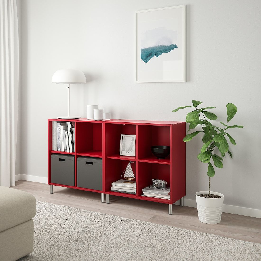 Eket Storage Combination With Legs Red 55 1 8x13 3 4x31 1 2