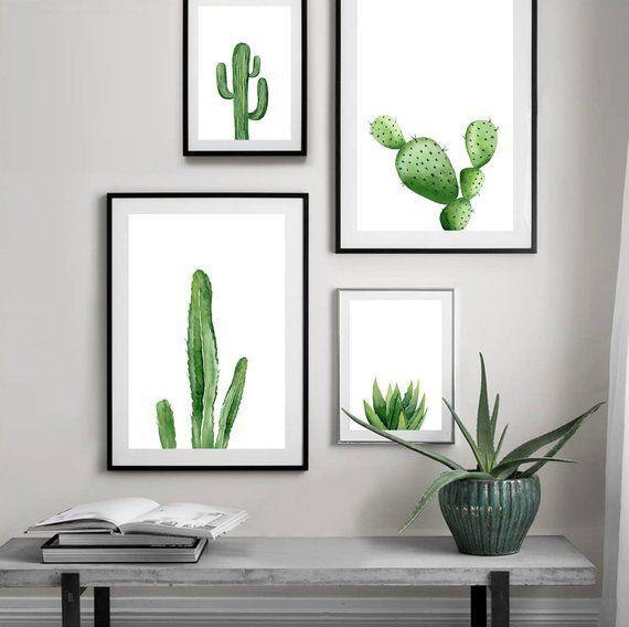 Grüner Pflanzendruck. Cactus Printable. Botanische Südwestkunst, Tropendekor-Download, Aquarell-Minimalist Wall Art. Innenplakate.