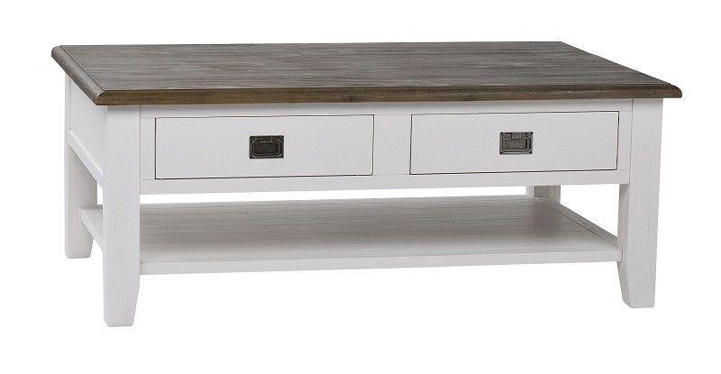 Minerve Sofabord - Hvid - Lækkert sofabord i rustikt look. Sofabrdet har to skuffer og en hylde til opbevaring. For at fuldende vintage-looket, har bordet en rustik bordplade i mørkt træ.