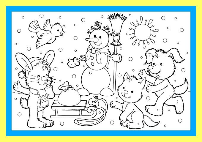 Winter Worksheets Winter Scene Coloring Sheet And Winter Song