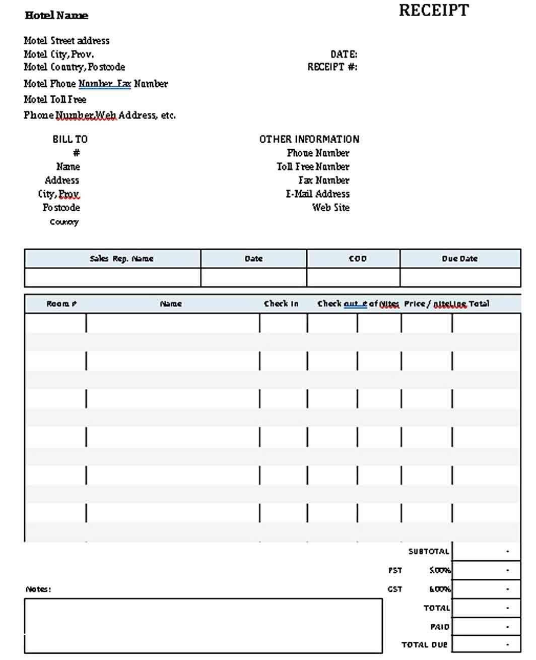 Hotel Receipt Template Receipt Template Templates Business Template