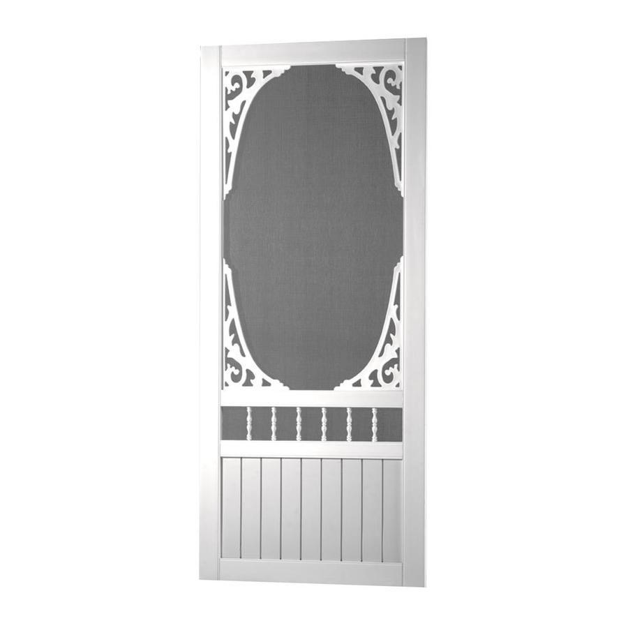 Screen Tight Springview White Vinyl Hinged Decorative Screen Door Common 30 In X 80 In Actual 30 In X 80 In With Images Decorative Screen Doors