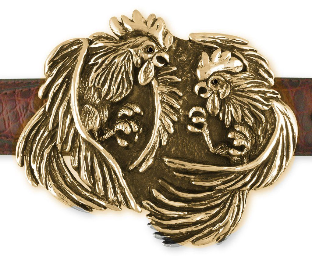 Fighting Roosters Mens Belt Buckle Hand Cast Yellow Bronze - Esquivel And Fees