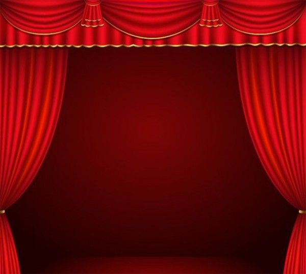 Dark Red Stage Curtains Vector Background - https://gooloc.com/dark-red-stage-curtains-vector-background/