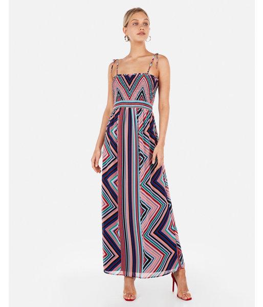 da0ebff2d4cd Chevron Stripe Smocked Bodice Maxi Dress Print Women's XXS ...