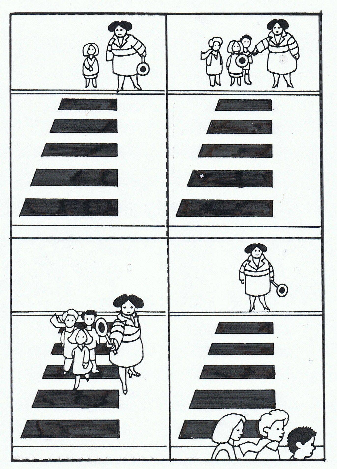Tijdsvolgorde Zebrapad Oversteken