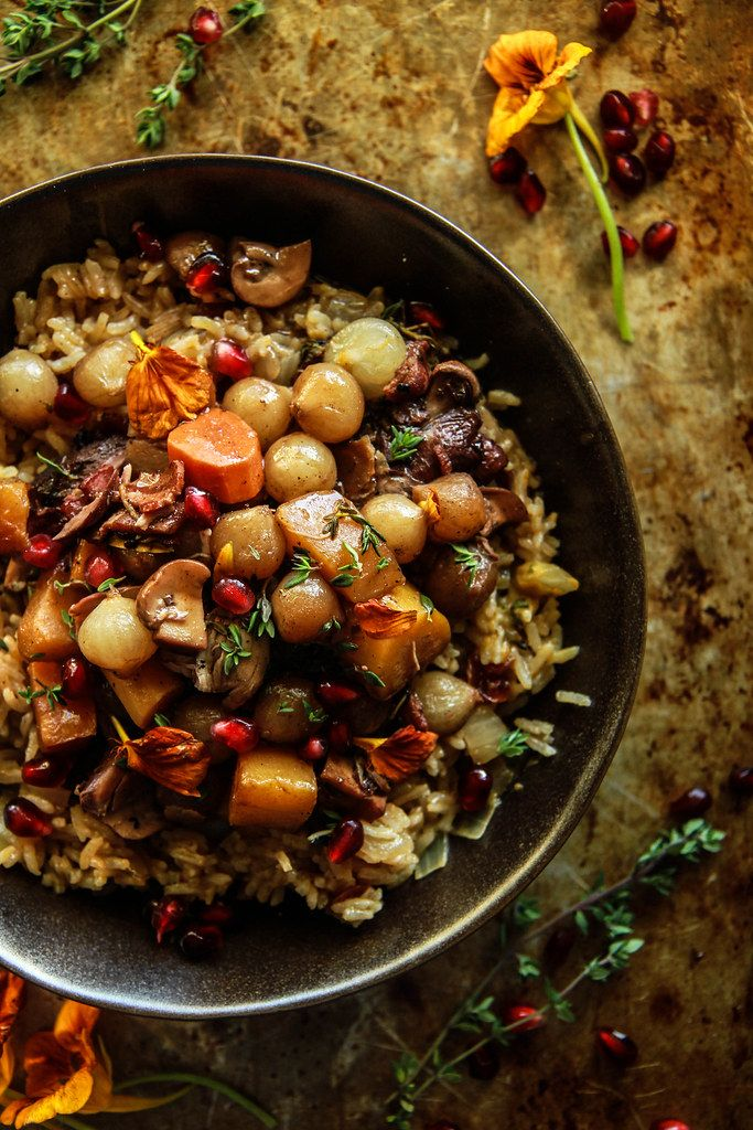 Coq Au Vin with Winter Vegetables and Cranberry Thyme Rice