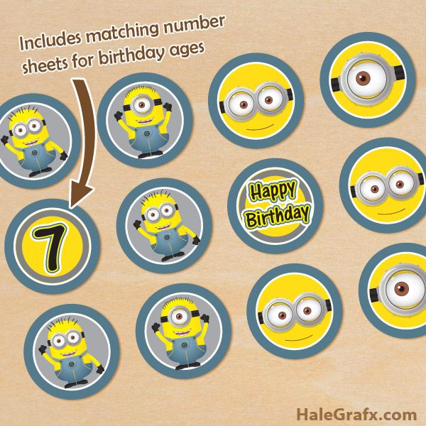 Free Printable Minions Cupcake Toppers With Age Numbers Minion