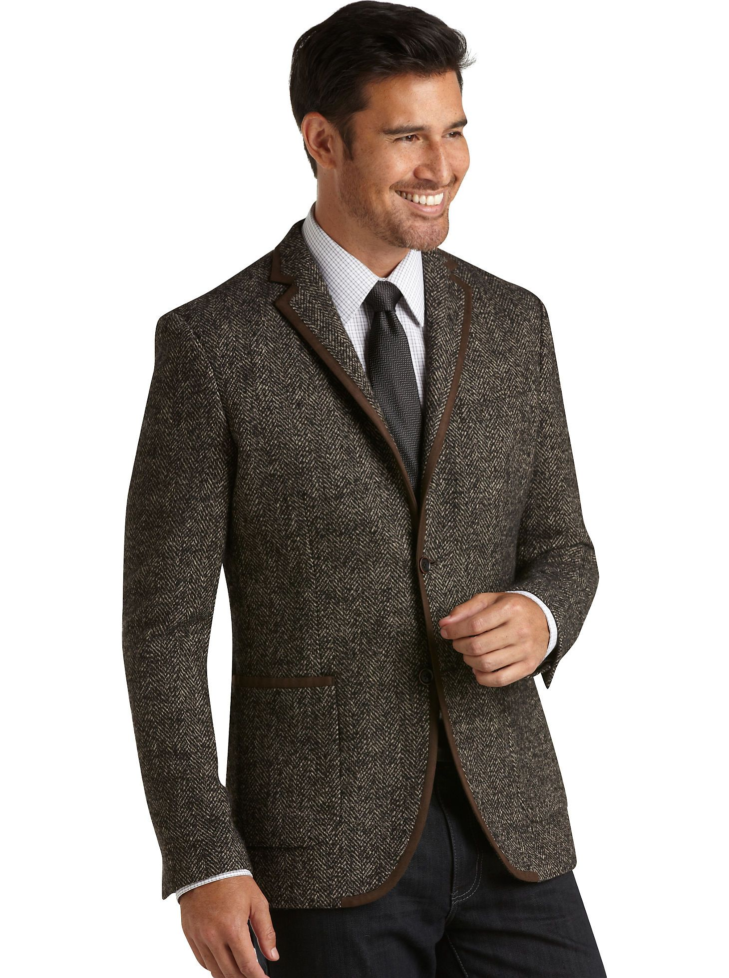 Sport Coats Tallia Brown Herringbone Modern Fit Sport