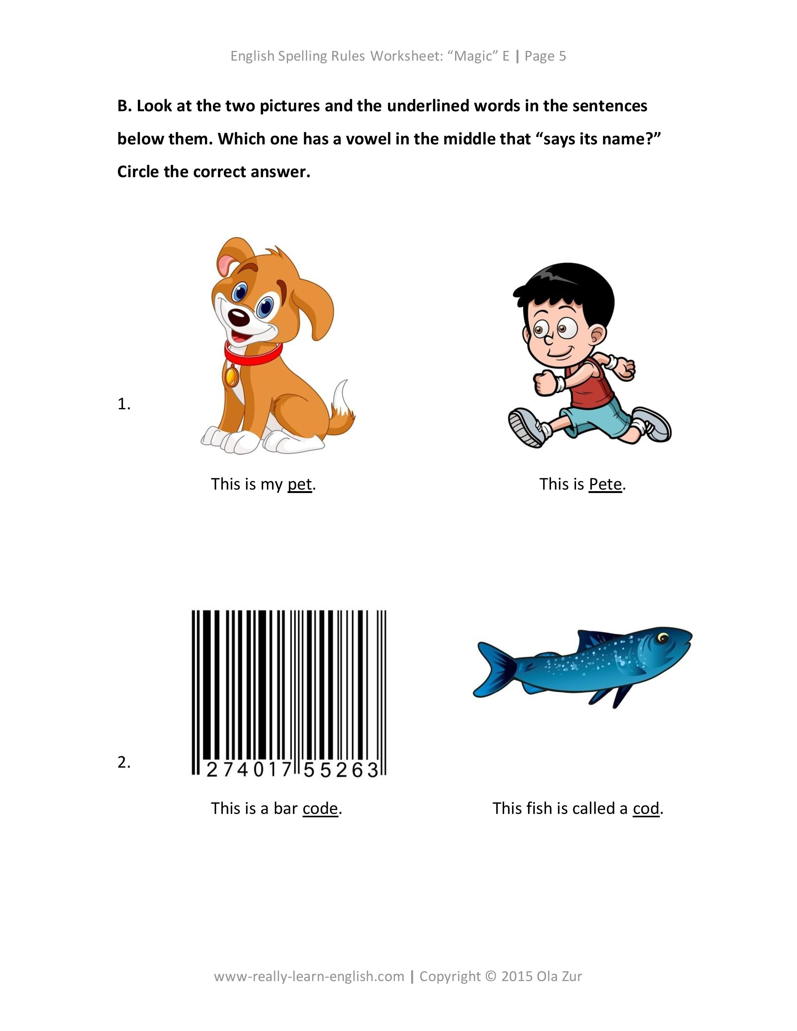 The Complete List Of English Spelling Rules Lesson 1 The Magic E Rules Examples Worksheet