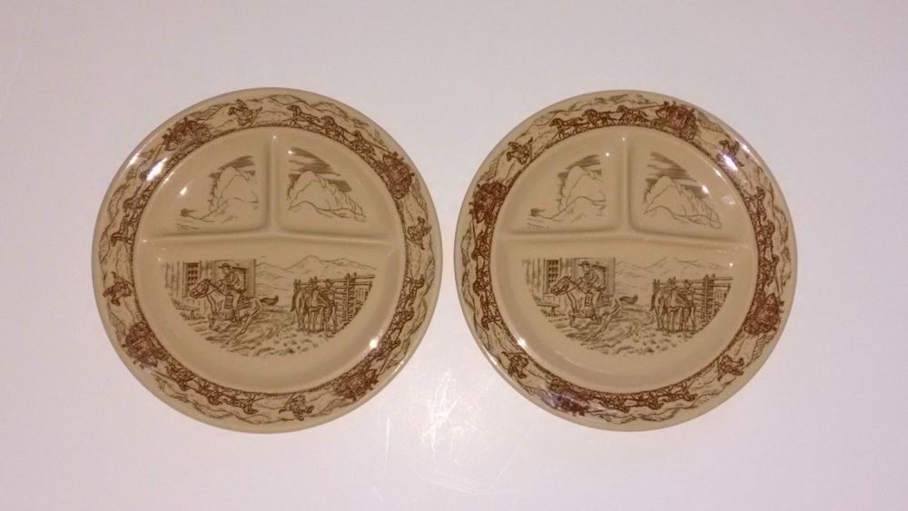 2 Tepco Western Traveler Brown 3 Section Divided Plates 9-1/4 In. Made In USA #Tepco