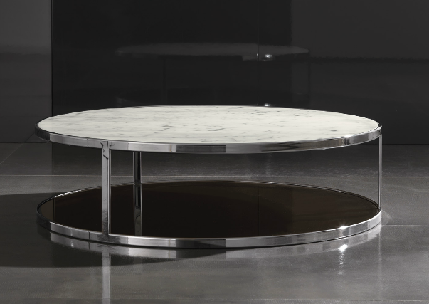 Captivating Minotti Huber Coffee Table With Calcatta Marble Top 80 Or 120 Diametre