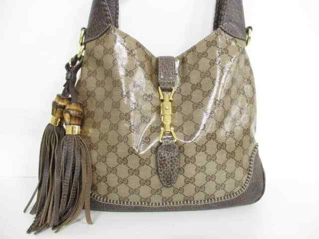 72bb5f75458 Auth GUCCI New Jackie/Crystal GG 219725 Beige Dark Brown Shoulder Bag (eBay  Link)