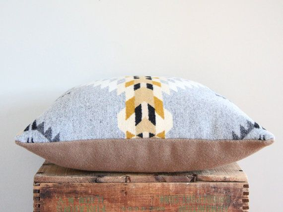 Geometric Wool Pillow // Echo Grey / cream / by ScoutandWhistle