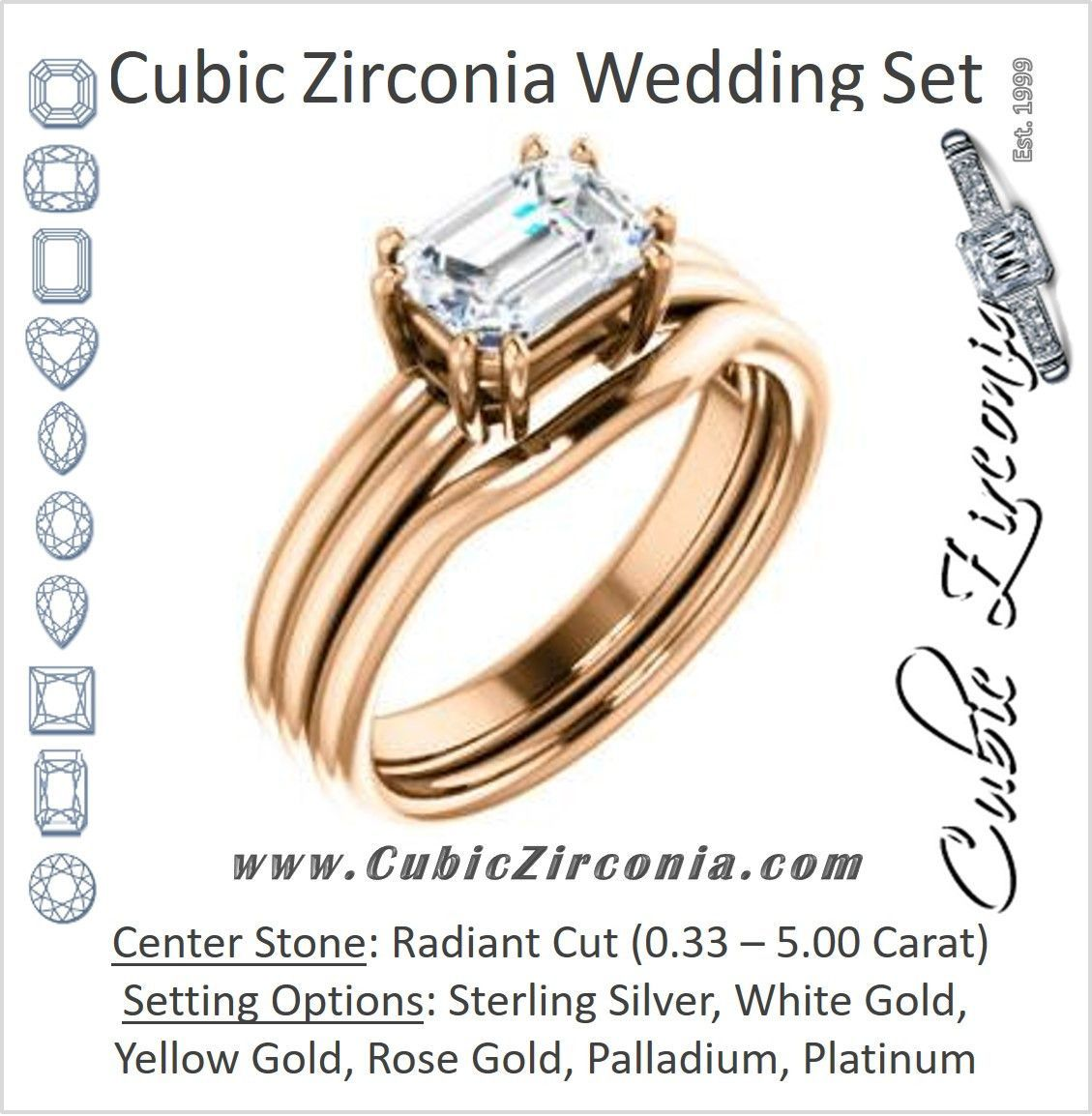 CZ Wedding Set, featuring The Marnie engagement ring (Customizable Radiant Cut Solitaire with Grooved Band)