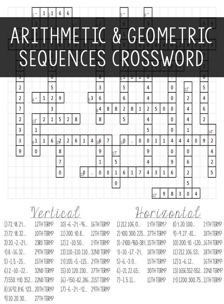 Arithmetic & Geometric Sequences Crossword Puzzle Activity