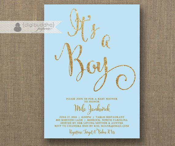 mint green & gold baby shower invitation gender neutral glitter,
