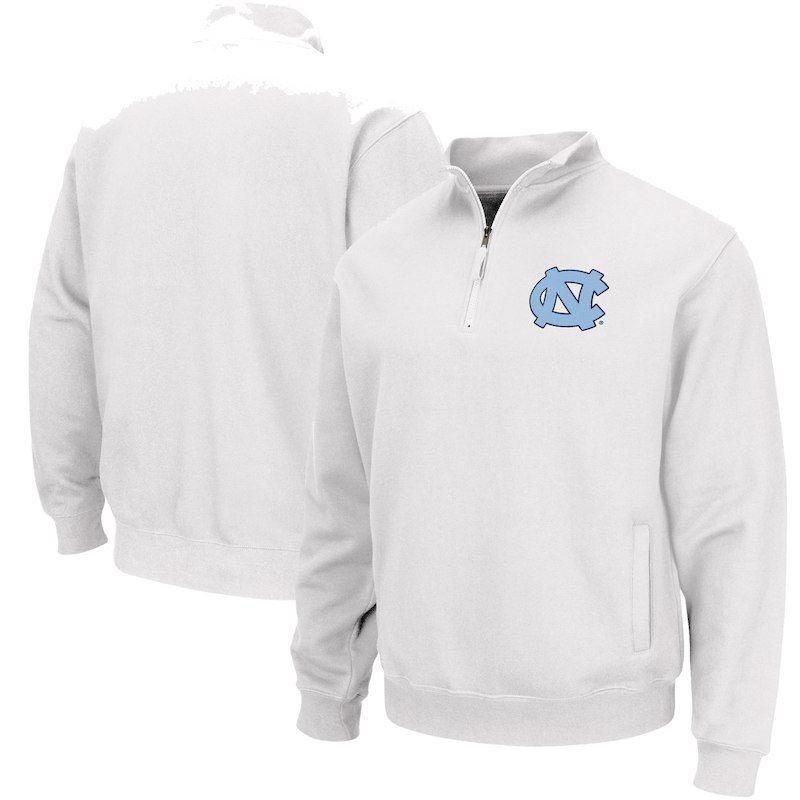 dda0e82e7fccd North Carolina Tar Heels Colosseum Team Logo Quarter-Zip Pullover Jacket –  White